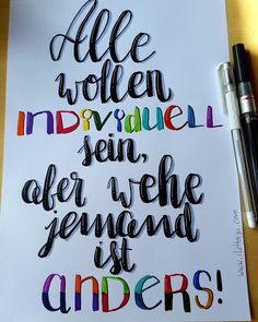 LetterLovers - iletterju - Handlettering individuell anders yourself letras Letter Lovers: iletterju zu Gast im Lettering Interview Brush Lettering, Hand Lettering, Cute Text, Plastic Letters, Bullet Journal Font, Getting Him Back, In Writing, Scrapbook Supplies, True Quotes