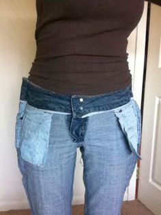 diy: how to take in jeans at the waist. I really think this should work on skirts I hope so!