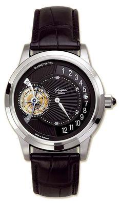 46-02-03-03-04 Glashutte Original Tourbillon Regulator - швейцарские мужские наручные часы - платиновые, черные - турбийон