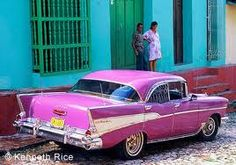cuba - So many of theses cars are used as taxis. <3