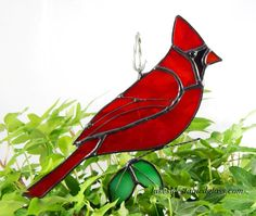 Stained Glass Bird Suncatcher  Cardinal by LakeSideStainedGlass, $24.00
