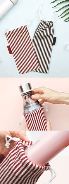 The Small Slim Stripe Drawstring Pouch is a super handy pouch for carrying my goods! It looks absolutely adorable with lovely stripe drawn horizontally, and the long cylindrical shape can help to carry various items at once! I can use it to carry my stationary, my hobby goods, or even to cover a small water bottle! It's great for keeping things clean inside my pouch. Drawstring Pouch, Pen Holders, Makeup Brushes, Stationary, I Am Awesome, Water Bottle, Slim, Shape, Cover