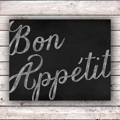 Bon Appetit Chalkboard Printable Art Print Kitchen Instant Digital Download Typography Art Print Blackboard Chalk Home Decor Poster Wall Art...
