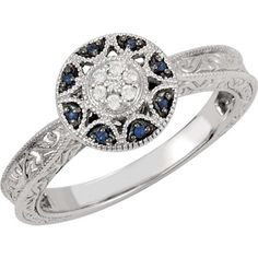 0.06 CTTW GENUINE BLUE SAPPHIRE AND DIAMOND RING IN 14K WHITE GOLD ( SIZE 6 )