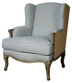 Marie Wingback Chair, Light Blue/Burlap