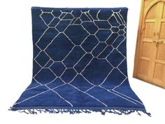 Authentic Moroccan Rug 7'9x9'9 Large Blue by Beniouraincarpets