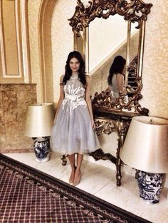 Malvina Cservenschi wearing midi Rhea Costa tulle dress