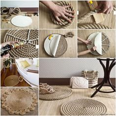 This DIY rope rugs are cheap and easy to make in your own home. Try making some in your home, and you will not regret. You will have fascinating home decor and everyone will envy you. Be creative and have a fun! What you need: Rope Knife Tap Silicone adhesive Dense fabric tarpaulin