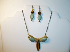 Tigers Eye and Howlite Necklace and Earring Set by by chubbychick, $30.00