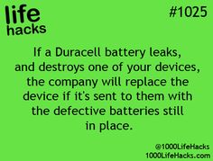 DURACELL — http://www.duracell.com/en-US/batter...-disposal.jspx DURACELL® BATTERY GUARANTEE If you're not completely satisfied with a Duracell® product, contact us. All of our batteries are guaranteed against defects in material and workmanship. Should any device be damaged by these batteries due to such defects, we will either repair or replace it if it is sent with the batteries.    Phone: 1-800-551-2355