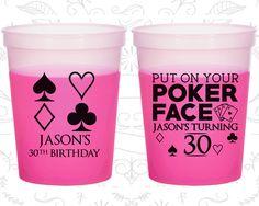 30th Birthday Mood Cups, Las Vegas Birthday, Poker Birthday, Casino Birthday, Birthday Color Changing Cups (20062)
