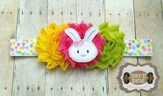 Shabby Flower Spring Bunny Headband by CountryQTBowtique on Etsy
