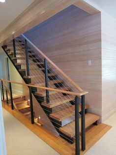 Architecture Amazing Stunning Cable Railing For Stairs Ideas Home Intended Stair Plans 3 Cable Stair Railing, Interior Stair Railing, Stair Railing Design, Staircase Railings, Wood Railing, Railing Ideas, Bannister, Stairways, Modular Staircase