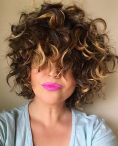Curly hair, curls, bright pink lips, wild hair, breckhouse