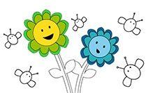 Jogos de pintar online para crianças: Flores e Abelhas
