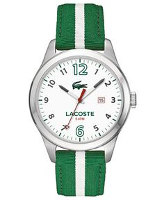 Lacoste Men's 2010721 Auckland Analog Display Japanese Quartz Green Watch Auckland, Tennis Fashion, Lacoste Men, Red Band, Casual Watches, Stainless Steel Watch, Bracelet Watch, Jewelry Watches, Quartz