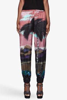 Lanvin Rose Pink Tropical Print Silk Lounge Pants