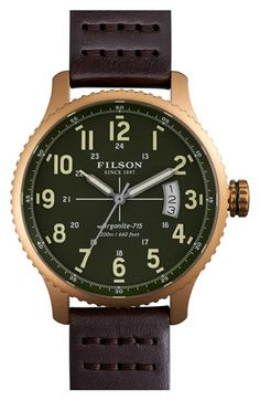 Free shipping and returns on Filson 'The Mackinaw Field' Watch, 43mm at Nordstrom.com. Hand-assembled by Shinola craftspeople in Detroit, this impeccable three-hand watch is built to withstand the demands of life and the field. The American-made quartz movement powers the time, while a sapphire crystal face protects the clean display and an antireflective coating reduces glare. A solid steel case defines the timeless silhouette, and a signature caseback laser-etched with Filson's logo and a…
