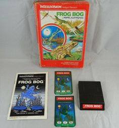 Frog Bog COMPLETEW/ Box, Overlays, Manual & Game Cartridge (Intellivision, 1982)