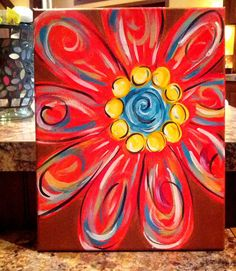 Colorful daisy painting on canvas by MegsMoxy, Beginner painting idea. Daisy Painting, Easy Canvas Painting, Diy Canvas, Painting & Drawing, Canvas Art, Canvas Paintings, Bright Paintings, Summer Painting, Canvas Ideas