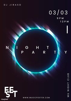 Night party music poster vector   free image by rawpixel.com / Kappy Kappy Club Poster, Poster S, Party Poster, Poster Ideas, Typography Poster Design, Graphic Design Posters, Poster Designs, Logo Musik, New Music Albums