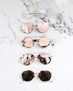 Chic Sunglasses - shades of rose and gold. Cute Sunglasses, Ray Ban Sunglasses, Cat Eye Sunglasses, Sunnies, Sunglasses Women, Trending Sunglasses, Summer Sunglasses, Mirrored Sunglasses, Lunette Style