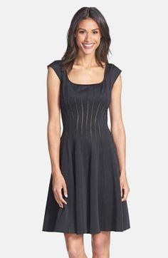 Tadashi Shoji Mesh Detail Knit Fit & Flare Dress | Nordstrom