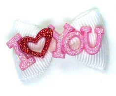 Valentine's Day Dog Bows I Love You Bows - White-valentine's day, dog bows, dog bow for the Valentine's Day Yorkie.