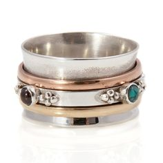 Rajput Turquoise and Garnet Silver Spinning Ring by Charlotte's Web | Charlotte's Web