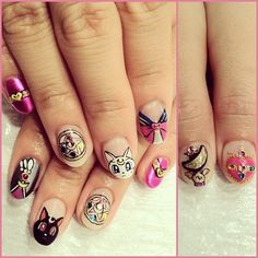 I would never draw this on my nails (or be able to even if I tried), but cute for those who remember the show. #sailormoon