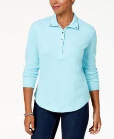 Karen Scott Snap-Front Polo Shirt, Created for Macy's - Tan/Beige XXL