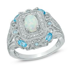 Oval Lab-Created White Opal, Swiss Blue Topaz and Diamond Accent Vintage-Style Ring in Sterling Silver