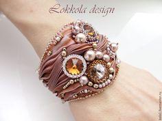 Beaded braceley with shibori | Купить Браслет шибори (какао) - кремовый, коричневый, розовый, таупе, браслет, Браслет ручной работы