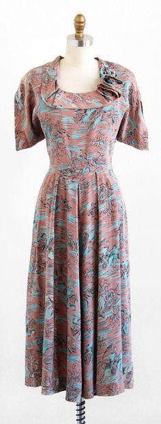 vintage 1940s dress / 40s dress / Horses Novelty by RococoVintage