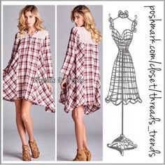 Red Plaid Asymmetrical Dress On trend red wine plaid asymmetrical dress with lace yoke and henley style bodice. Made of cotton. Size S, M, L Threads & Trends Dresses