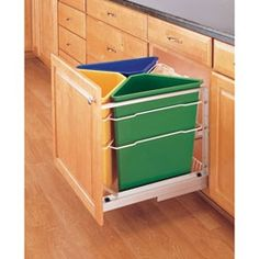 Buy the Rev-A-Shelf Yellow/Blue/Green Direct. Shop for the Rev-A-Shelf Yellow/Blue/Green Pull Out Recycling Center with Three 25 Quart Containers and Canvas Bag and save.