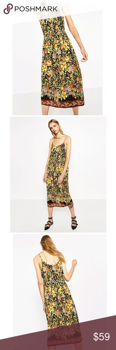 Zara Printed Midi Dress Beautiful ! Perfect for Spring!  New with tags  No Trades Zara Dresses Midi