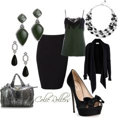 """""""Business~ Green, Black and Silvers"""" by colierollers on Polyvore"""