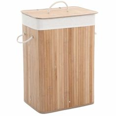 Songmics XXL 100 L Bamboo Foldable Laundry Basket Box Laundry Hamper With Lid and Removable Washable Lining Natural x 52 x 32 cm Laundry Hamper With Lid, Laundry Bin, Laundry Sorter, Laundry Storage, Laundry Basket, Wicker Baskets With Handles, Laundry Cabinets, Folding Laundry, Hazelwood Home