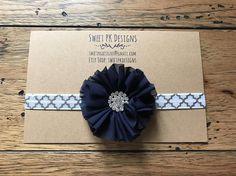 Navy and silver rhinestone headband