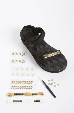 Teva's are on fashion runways now! Loving this platform sandal with a DIY kit that contains Swarovski crystals, application tools and embroidery floss along with an inspiration booklet featuring instructions and tips from Erica Chan Coffman, founder of HonestlyWTF.