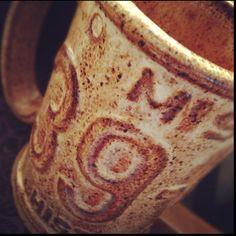 "My favorite coffee mug. Slab pressed from a license plate. It has ""screws"" in the handle. By Terri at Copperleaf Studio. LOVE it!"