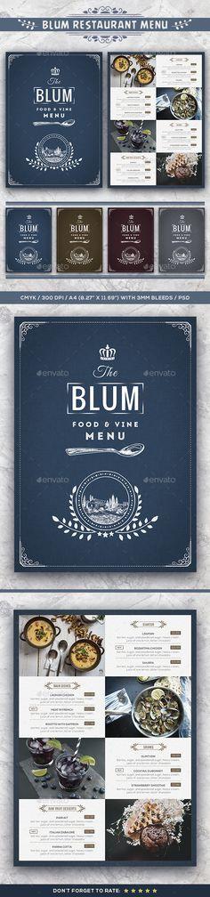 Blum Restaurant Menu Template PSD