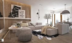 """W klimacie """"new nordic"""" Home Living Room, Living Room Designs, Living Room Decor, Interior And Exterior, Interior Design, Eclectic Design, Luxury Living, Luxury Furniture, Scandinavian Style"""