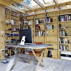garden shed turned home office -- this space is a dream.