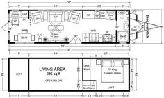 Tiny House Floor Plans: 32' Long Tiny Home on Wheels Design Photo. 3 bedrooms, mini stairs to loft, 286 sf, w/d, closets.