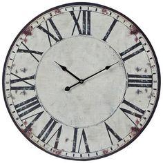 """Wolcott White 24"""" Round Wall Clock -"""