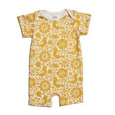 Organic Cotton Summer Romper - Yellow Birds and Flowers Print – Wild Dill