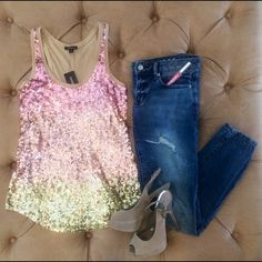 EXPRESS Sequined Tank Brand new. Pink/gold ombré sequins on front. Nude back. Fits small or medium. Express Tops Tank Tops