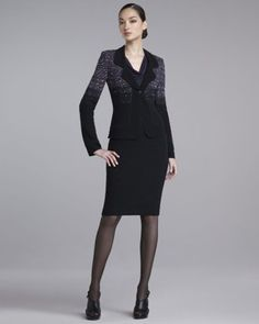 St. John - Shop Online - Fall 2012 - Ombre-Tweed Jacket, Drape-Neck Jersey Shell & Tweed Pencil Skirt